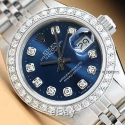 Ladies Rolex Blue Diamond Dial Datejust 18k White Gold & Stainless Steel Watch