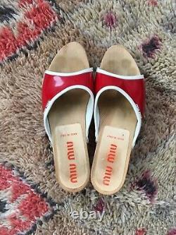 Miu Miu Vintage Clogs Sandals Eur 39 Red White