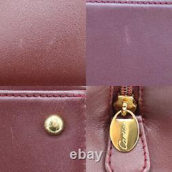 Must de Cartier Boston Hand Bag Bordeaux Leather Vintage Spain Authentic #NN336