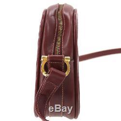 Must de Cartier Logos Shoulder Bag Bordeaux Leather Vintage Authentic #AB422 O