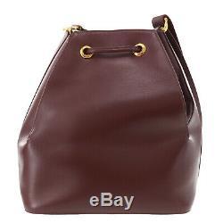 Must de Cartier Must Line Shoulder Bag Bordeaux Leather Vintage Auth #ZZ286 O
