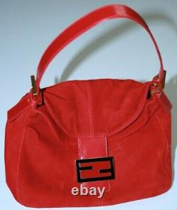 NEW! Authentic Vintage FENDI Red Suede Leather Flap FF Buckle Hand Bag Purse