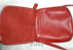 NEW Vintage Coach Dark Red Leather Crossbody Slim Fit Flap Bag Shoulder Purse