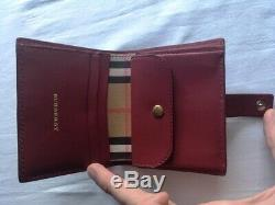 New Genuine BURBERRY Small Vintage Check and Leather Folding Wallet Crimson