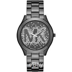 New Michael Kors MK3589 Women's Slim Runway Black Ion-Plated Bracelet 42mm Watch
