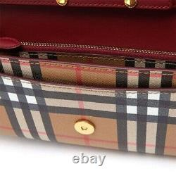 Nwtburberry Vintage Check Leather Chain Shoulder Bag Wallet Clutch Crimson Red