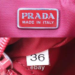 PRADA Logos Hand Bag Red Nylon Made in Italy Vintage Authentic #AC350 O