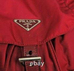 PRADA Small Red Nylon Vela Backpack vintage W Leather Trim Handbag