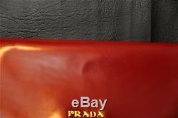 Prada Neiman Marcus 100th An. Cherry Brass Purse Clutch withStrap SUPER RARE