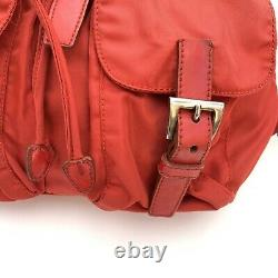 Prada Vintage Small Backpack Bag Red Nylon 2 Buckles Authentic