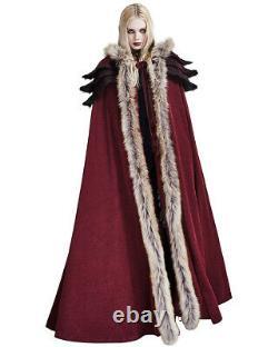 Punk Rave Womens Cloak Coat Jacket Red Fux Fur Gothic Steampunk VTG Regency