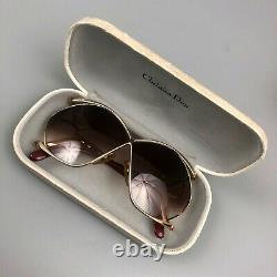 RARE Christian Dior Ladies 2056 Vintage Oversize Butterfly Gold & Red Sunglasses