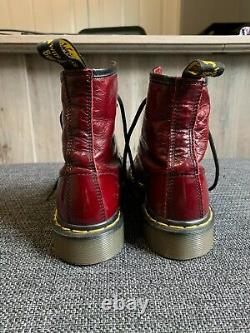 RARE Dr. Doc Martens Vintage Leather Boots Cranberry Red Made in England US7
