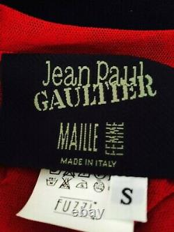 Rare Vintage JEAN PAUL GAULTHIER Red Mesh Top Size S Embroidered Nylon