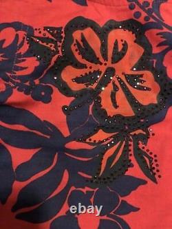 Rare Vintage VERSACE JEANS COUTURE COTTON JEANS SIZE 27 red blue floral print