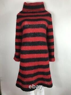 Rare Vtg Alexander McQueen Horn of Plenty Red Mohair Dress S
