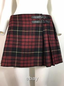 Rare Vtg Alexander McQueen McQ Red Tartan Mini Skirt XS