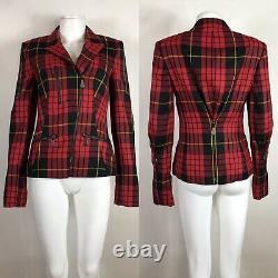 Rare Vtg Alexander Mcqueen McQ Red Tartan Plaid Jacket S 40