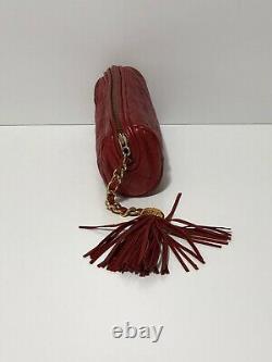 Rare Vtg Chanel Red Leather Pouch Fringe Clutch Bag