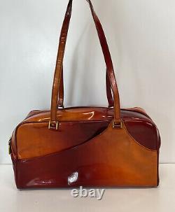 Rare Vtg Christian Dior by John Galliano Red Orange Patent Bag