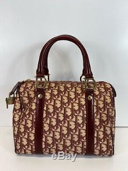 Rare Vtg Christian Dior by John Galliano Red Trotter Monogram Boston Bag