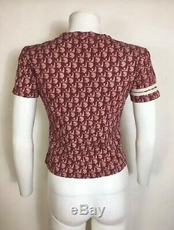 Rare Vtg Christian Dior by John Galliano Red Trotter Monogram Top XS