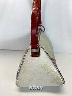 Rare Vtg Christian Dior by John Galliano White Red Car Leather Bag