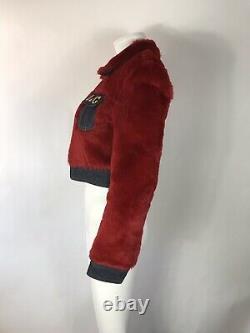 Rare Vtg Dolce & Gabbana D&G Red Faux Fur Logo Jacket S