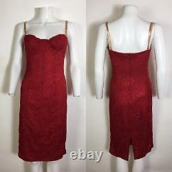 Rare Vtg Dolce & Gabbana Red Lace Corset Dress S 42