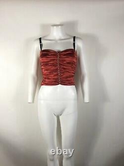 Rare Vtg Dolce & Gabbana Red Silk Satin Bustier Corset Top XS