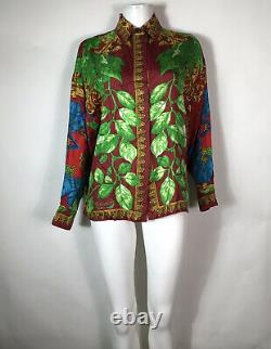 Rare Vtg Gianni Versace Istante Red Silk Leaf Print 1995 Shirt S