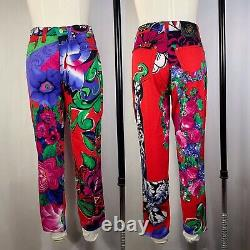 Rare Vtg Gianni Versace Jeans Couture Red Floral Pants S