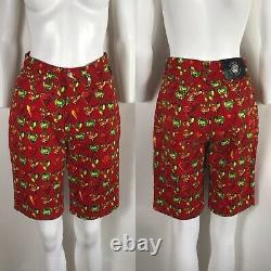 Rare Vtg Gianni Versace Jeans Signature 90s Red Heart Shorts S/M