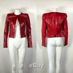 Rare Vtg Gianni Versace Red Eel Leather Jacket S 40