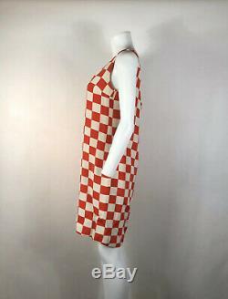 Rare Vtg Gianni Versace Red Silk Checker Print Mini Dress 1995 M