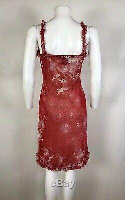Rare Vtg Jean Paul Gaultier Dress Red Floral Print Mesh Dress S
