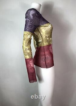 Rare Vtg Jean Paul Gaultier Purple Red Courtyard Print Sheer Mesh Top S