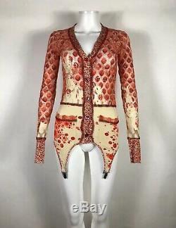 Rare Vtg Jean Paul Gaultier Red Garter Mesh Top S