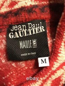 Rare Vtg Jean Paul Gaultier Red Studded Wool Vest Sz M