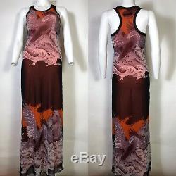 Rare Vtg Jean Paul Gaultier Soleil Red Orange Phoenix Print Mesh Dress S