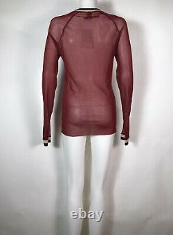 Rare Vtg Jean Paul Gaultier Soleil Red Printed Logo Sheer Mesh Top L
