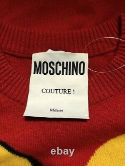 Rare Vtg Moschino Couture Red Restaurant Print Wool & Cashmere Dress XS