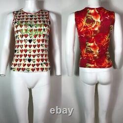 Rare Vtg Versace Jeans Red Heart Print Sleeveless Top S