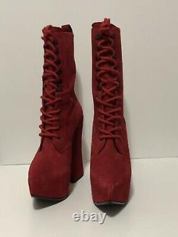 Rare Vtg Vivienne Westwood AW2013 Red Suede Elevated Boots 38
