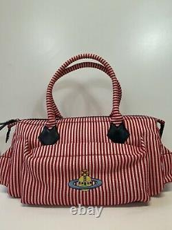 Rare Vtg Vivienne Westwood Red Stripe Logo Orb Bag