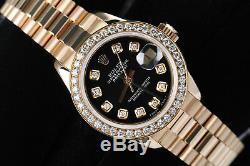 Rolex 26mm Presidential Black Dial 18K Yellow Gold Ladies Diamond Watch