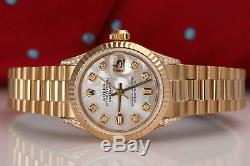 Rolex 26mm Presidential White MOP 8+2 Diamond Dial 18k Yellow Gold Ladies Watch