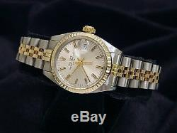 Rolex Date Ladies 2Tone Yellow Gold & Steel Watch Jubilee Silver Dial 6917