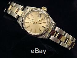 Rolex Date Ladies 2Tone Yellow Gold & Steel Watch Oyster Champagne Dial 6917
