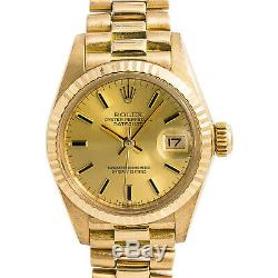 Rolex Datejust 6917 President Womens Automatic Watch Champagne 18K Gold 26mm